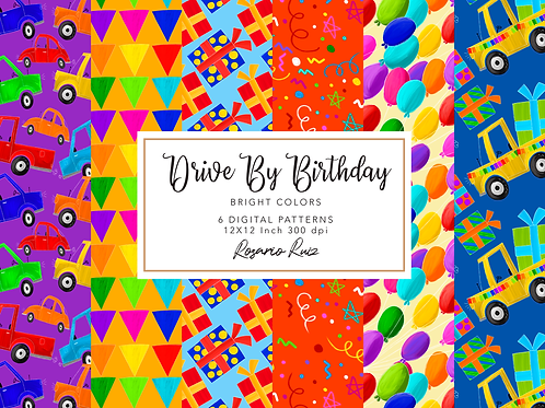 Drive-by Birthday Party parade digital papers truck,boy quarantine birthday