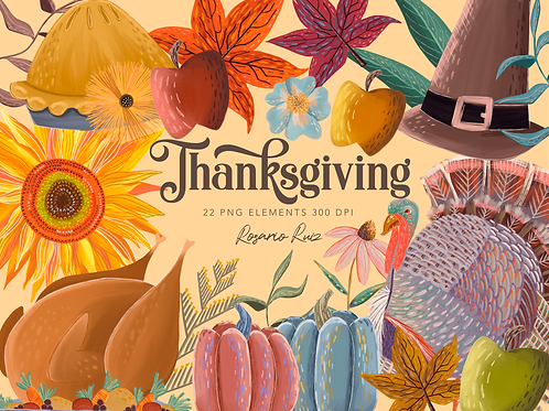 Thanksgiving Clipart - Turkey day - Autumn graphics - FALL clipart