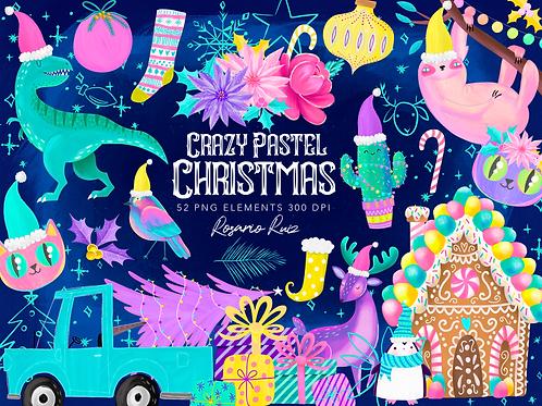 Pastel Christmas Clipart, Crazy Christmas clip art, Dinosaur Christmas