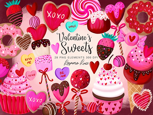 Valentine's Day Clipart, Valentine Sweets, Heart cookies, strawberry chocolate