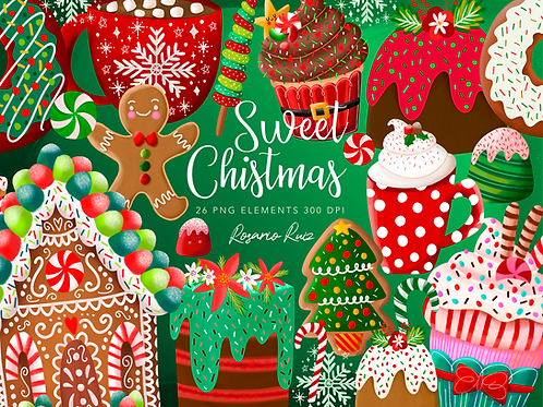 Sweet Christmas Clipart, desserts clip art cocoa cups, Gingerbread house