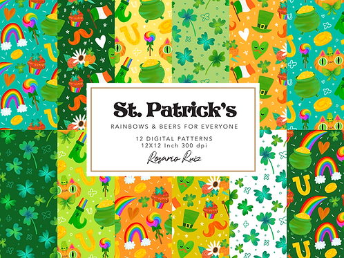 St patrick's digital paper, leprechaun cat paper, clover clipart, rainbow