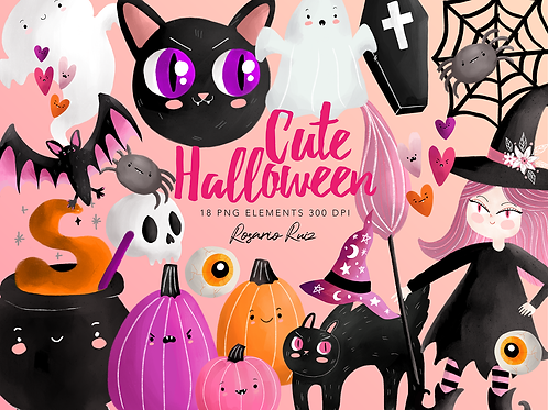 Pink Halloween Clipart, Cute halloween, Pink Pumpkin Clip Art, kawaii halloween