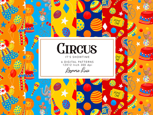 Circus digital paper, Carnival papers, Big Top clipart, Carnival background