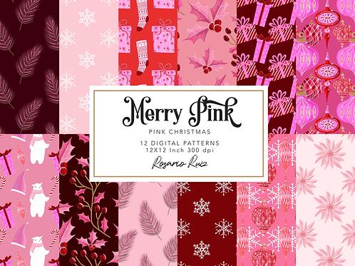 Pink Christmas Digital Paper - Christmas Pattern - Designer Digital Paper Set