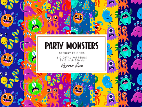 Monsters digital papers Set - cute monsters paper, party monster