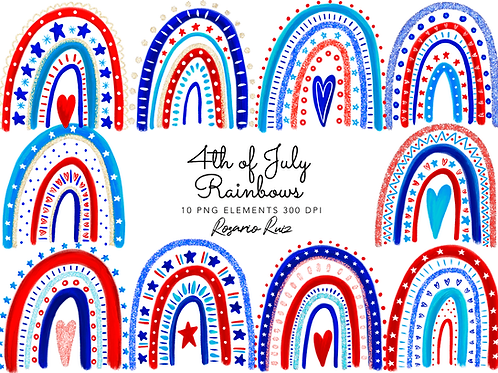 Patriotic Rainbow Clipart, Independence Day Clip Art, USA Clipart