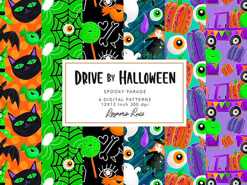 Drive by Halloween Digital paper - pattern Halloween - cute Halloween Paper