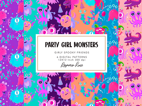 Girly Monsters digital papers Set - cute monsters paper, party pink monster