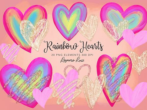 Rainbow Hearts Clipart - Sublimation rainbow heart - Valentines Clip Art