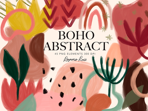 Abstract Boho Modern Clipart -Hand Painting Watercolor geometric shapes