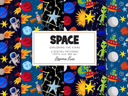 Space Digital papers, Outer Space papers, Astronaut paper, Planet paper, Alien
