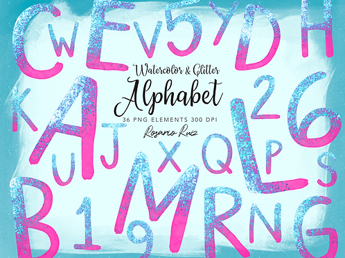Watercolor Pink Alphabet Clipart Glitter, Shimmering Alphabet Clipart, PNG