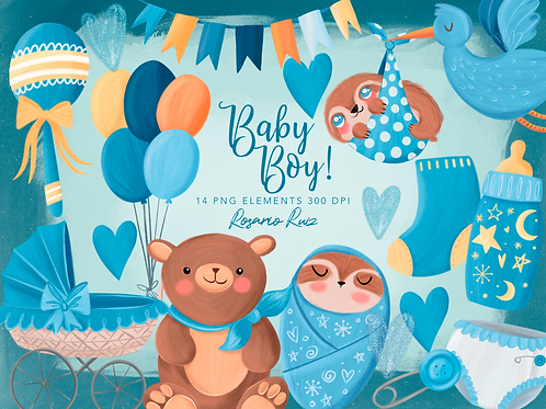Baby Boy Clipart - Baby Shower Clipart - Baby sloth - Birth announcement