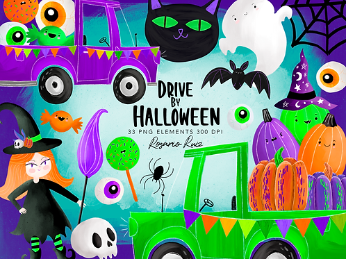 Drive by Halloween Clipart, Halloween party Clipart, Halloween cars parade