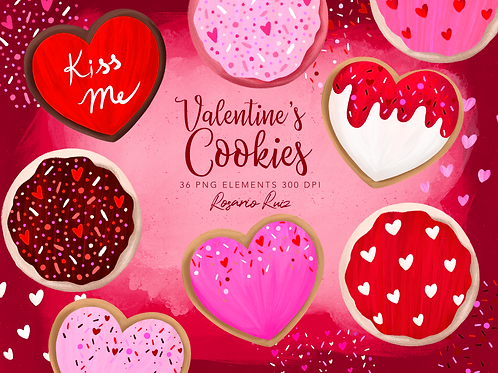 Valentine's Day Cookie Clipart, Valentine clipart, Cookies with sprinkles