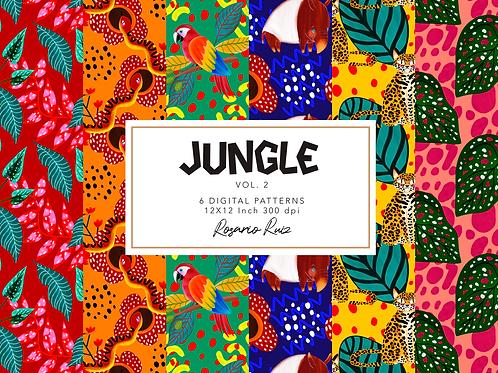 Jungle Digital paper - tropical pattern Digital paper set