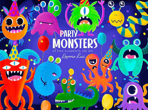 Monsters Clipart Set - cute monsters clip art, party monsters, characters, party
