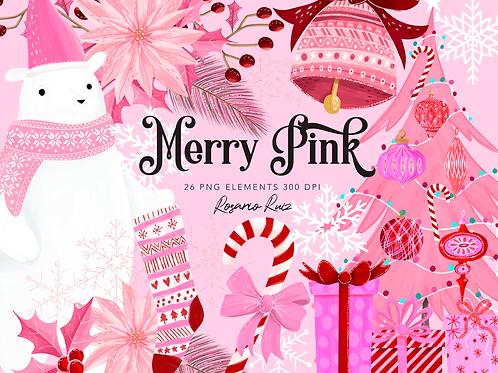 Pink Christmas Clipart, cute polar bear, Winter pink Clip Art