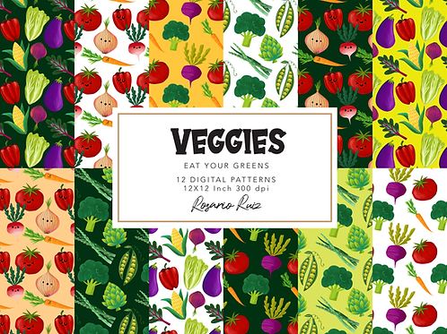 Cute Vegetables digital paper - Veggies, Food paper, Health, Vegetable Art