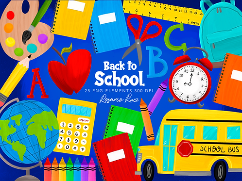 Back to school clipart - School clipart - school bus - school elements - apple