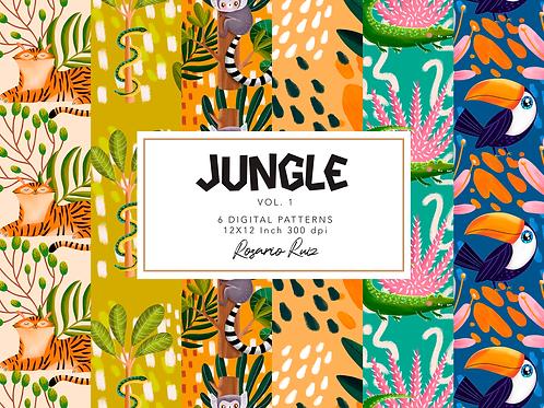Jungle Digital paper - tropical pattern - Digital paper set - printable