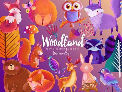 Woodland Animals Clipart - Watercolor Clip Art - Digital Printable Nursery Bear