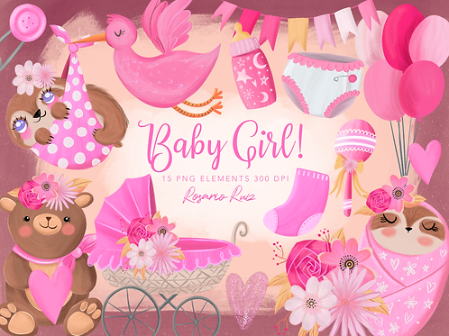 Baby Girl Clipart - Baby Shower Clipart - Baby sloth - Birth announcement