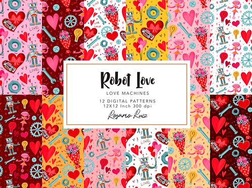 Valentine Robot digital papers, Love Robot, Robot paper, Love paper