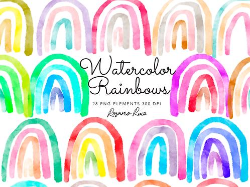 Watercolor rainbow clip art, watercolor clipart, watercolor rainbow