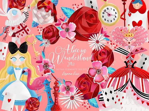 Alice in wonderland  Heart Queen  Clipart, roses, cards