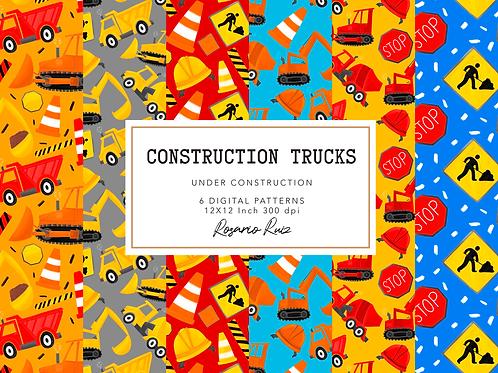 Construction digital Papers - Contruction Vehicles - Bulldozer - Cement Truck