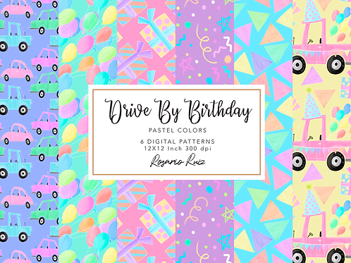 Drive-by Birthday Party parade digital papers rainbow, girl & boy