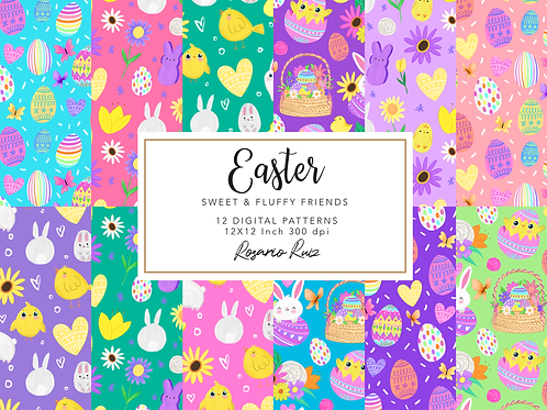 Easter digital paper, Bunny digital paper, Easter Eggs papers, Spring papers