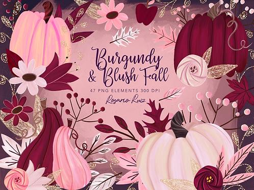 Burgundy Fall Clipart, Blush Autumn Clipart - Fall Harvest Clipart, Pumpkins