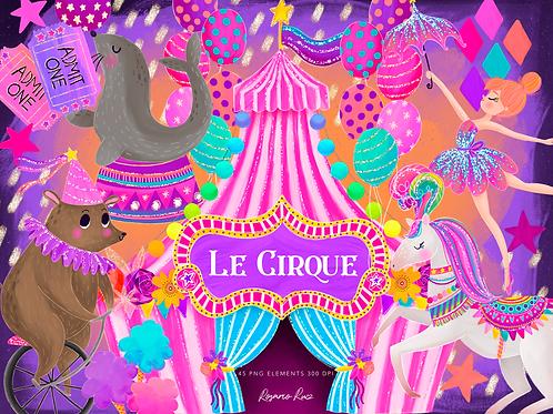 Pink Circus clipart, Carnival Clip art, Circus Graphics, Big Top, Glitter