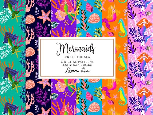 Cute Mermaids Digital Paper Set-Seahorse-Shells-Starfish-Coral
