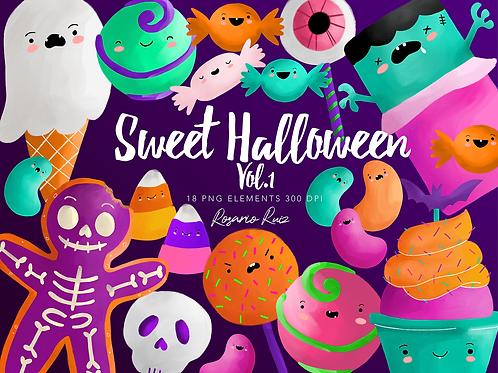 Sweet Halloween Clipart, candy clip art kawaii - creepy treats Clipart, candies