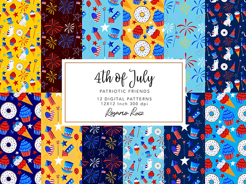 4th of July papers, Independence Day digital paper, USA , Patriotic scarpbook