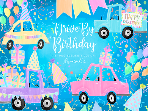Car pastel clipart - Drive-by Birthday Party parade clipart rainbow, girl & boy