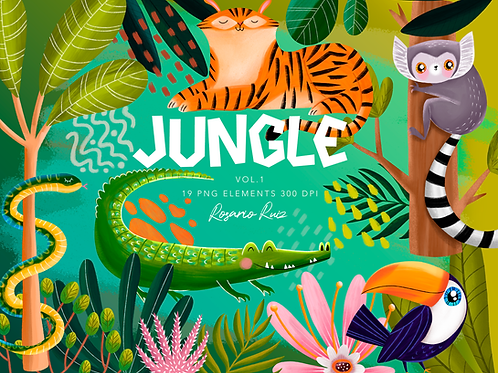 Jungle Clipart, cute tiger - clip art jungle friends - printable clip art cute