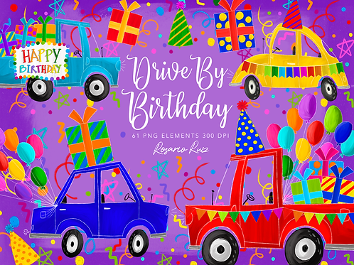 Car clipart - Drive-by Birthday Party parade clipart, vehicle clipart