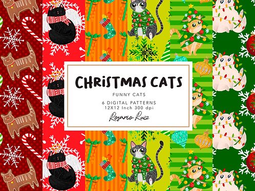 Christmas Cat Digital Paper, Funny cats paper, Gingerbread cat papers