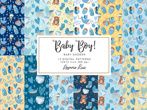 Baby Boy paper - Baby Shower paper - Baby sloth - Birth announcement