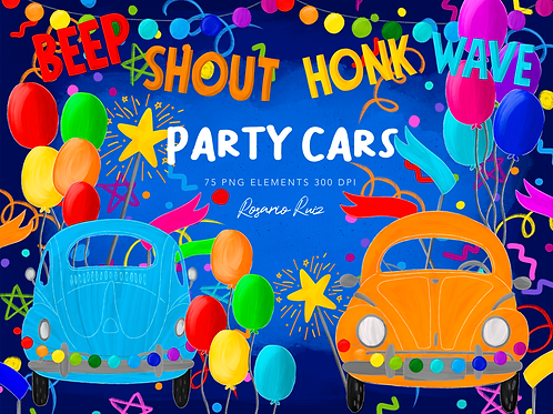 Party Cars clipart rainbow, girl & boy quarantine birthday party, parade