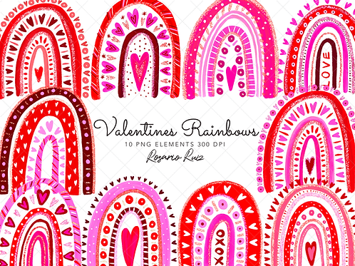 Rainbow Valentine's clipart - Sublimation PNG - Rainbows Clip Art - Love rainbow