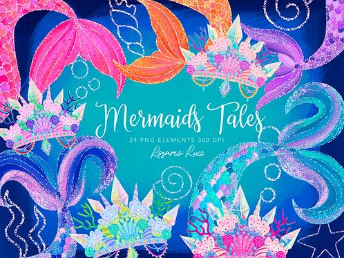 Mermaid Clipart tails - Mermaid Glitter clipart - Mermaid crowns princess
