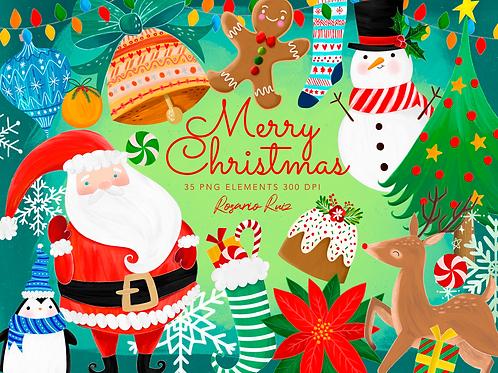 Christmas Clipart - Santa, Rudolf, Snowman, Presents, Poinsettia, gingerbread