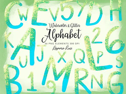 Watercolor Blue Alphabet Clipart Glitter, Shimmering Alphabet Clipart, PNG