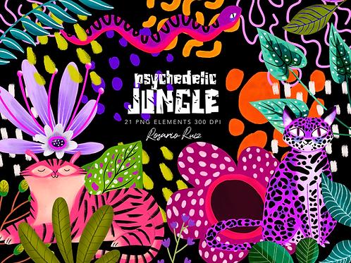 Colorful Jungle Clipart, Pink tiger - clip art jungle friends